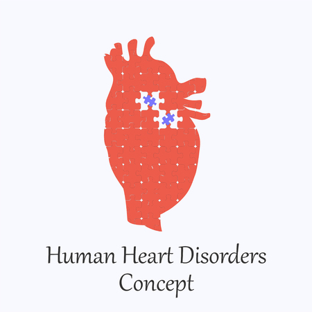 Human Heart Filled with Puzzle Pattern Few of Whitch Unfit to the Whole. Conceptual Image of Human Heart Disorders in its Initial Stage.