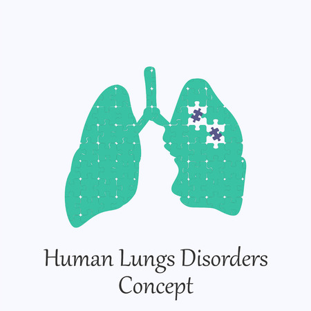 Human  Lungs Filled with Puzzle Pattern Few of Witch Unfit to the Whole. Conceptual Image of Human  Lungs  Disorders in its Initial Stage.