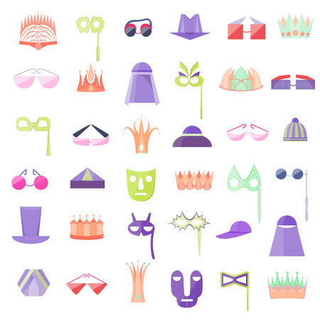 Set with Icon of Hats, Crowns, Glasses and Masks Illustration