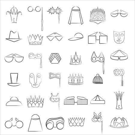 Set with Lined Icons of Diverse Accessories Vetores