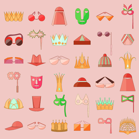 Set with Stroked Icon of Diverse Accesories Illustration