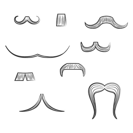 Set with Diverse Mens Moustache Shapes made in Line Art Style. Vector EPS 8