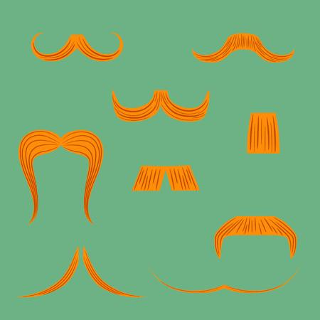 Sertie de diverses formes de moustache pour hommes rouges faites dans un style plat. Vecteur EPS 8