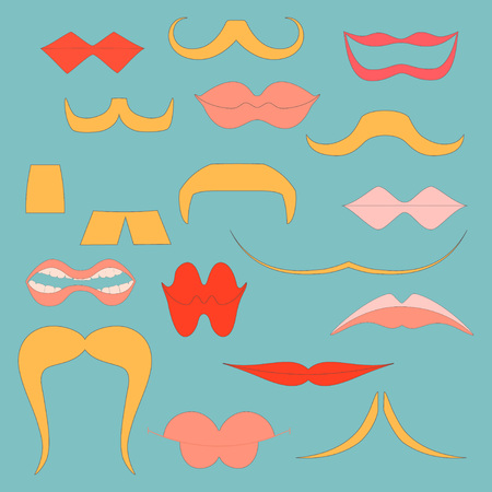 Set with Colorful Icons of Moustaches and Lips