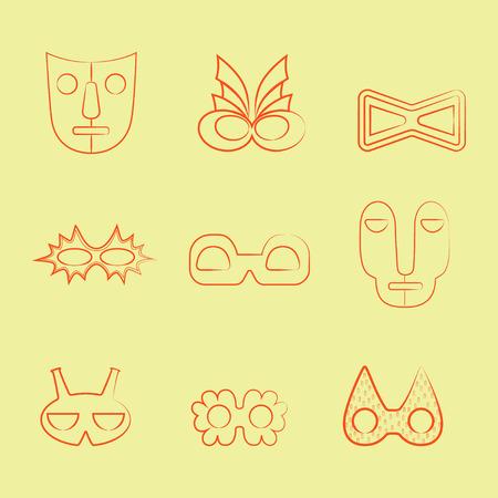 Set of Orange Line Art Carnival and Tribal Masks