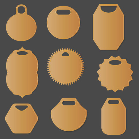 Set of Different Isolated Labels and Tags. Blank Biege Tags Isolated on the Dark Grey Background. Vector EPS 10