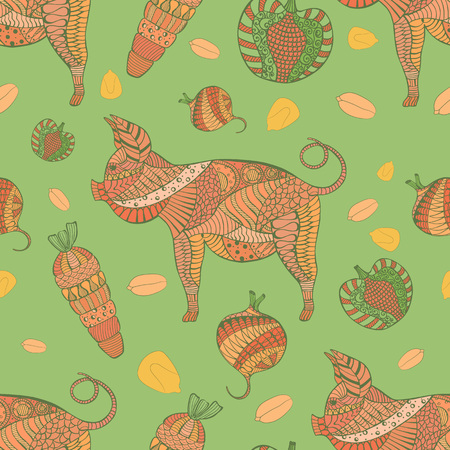 Seamless Pattern with Pig, Veg and Grain Illustration