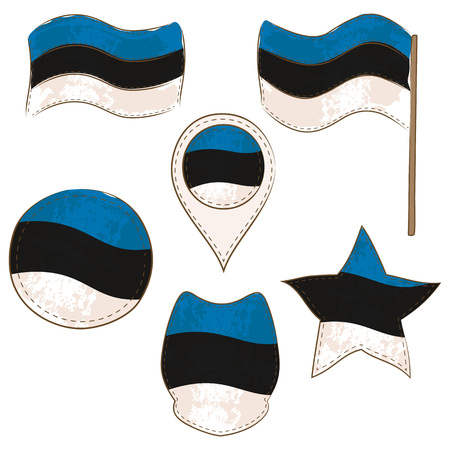 Flag of Estonia Made in Different Variations, as Flag with and without Stick, in a Circle, as a Shield, Star and Map Pointer. Flag Shapes with Contours, Decorated with Dotted Stitch and Brush Texture.