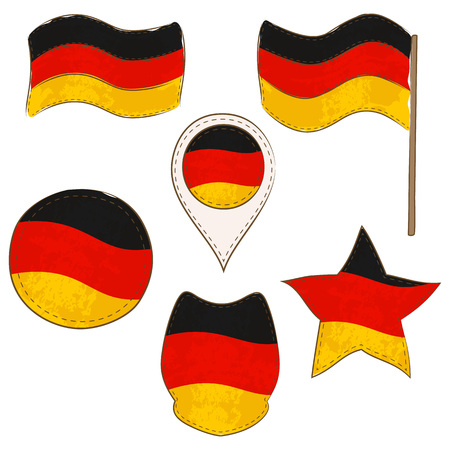 Flag of Germany Made in Different Variations, as Flag with and without Stick, in a Circle, as a Shield, Star and Map Pointer. Flag Shapes with Contours, Decorated with Dotted Stitch and Brush Texture. Vettoriali