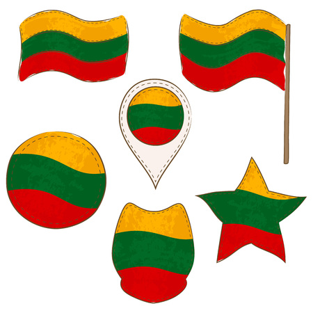 Flag of Lithuania Made in Different Variations, as Flag with and without Stick, in a Circle, as a Shield, Star and Map Pointer. Flag Shapes with Contours, Decorated with Stitch and Brush Texture.