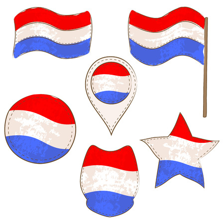 Flag of Luxembourg Made in Different Variations, as Flag with and without Stick, in a Circle, as a Shield, Star and Map Pointer. Flag Shapes with Contours, Decorated with Stitch and Brush Texture.