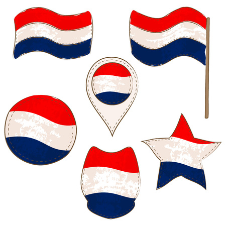 Flag of Netherlands Made in Different Variations, as Flag with and without Stick, in a Circle, as a Shield, Star and Map Pointer. Flag Shapes with Contours, Decorated with Stitch and Brush Texture.