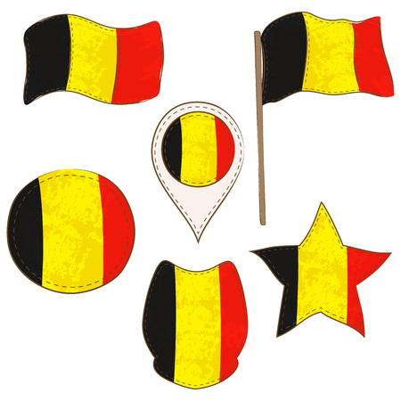 Flag of the Belgium Made in Different Variations, as Flag with and without Stick, in a Circle, as a Shield, Star and Map Pointer. Flag Shapes with Contours, Decorated with Stitch and Brush Texture.
