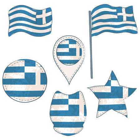 Flag of the Greece Made in Different Variations, as Flag with and without Stick, in a Circle, as a Shield, Star and Map Pointer. Flag Shapes with Contours, Decorated with Dotted Stitch and Texture.