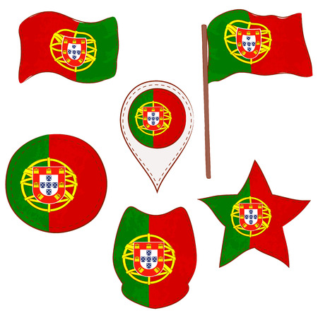 Flag of the Portugal Performed in Defferent Shapes