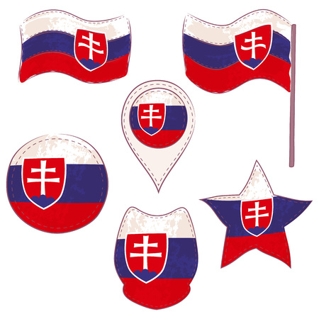 Flag of Slovakia Made in Different Variations, as Flag with and without Stick, in a Circle, as Shield, Star and Map Pointer. Flag Shapes with Contours, Decorated with Dotted Stitch and Brush Texture.
