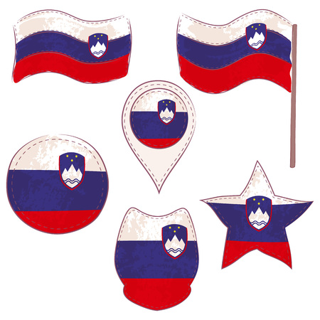 Flag of Slovenia Made in Different Variations, as Flag with and without Stick, in a Circle, as Shield, Star and Map Pointer. Flag Shapes with Contours, Decorated with Dotted Stitch and Brush Texture.