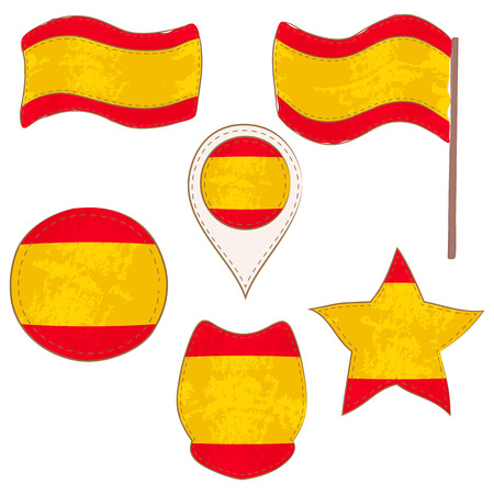 Flag of Spain Made in Different Variations, as Flag with and without Stick, in a Circle, as Shield, Star and Map Pointer. Flag Shapes with Contours, Decorated with Dotted Stitch and Brush Texture.