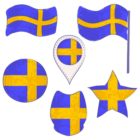 Flag of Sweden Made in Different Variations, as Flag with and without Stick, in a Circle, as Shield, Star and Map Pointer. Flag Shapes with Contours, Decorated with Dotted Stitch and Brush Texture.