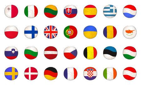 Set with EU Flags Made as Badges