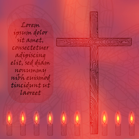 Religion Related Poster with Lighted Candles Placed in a Row and Sample Text. Hand Drawn Candles, Wooden Cross and Lily Flowers. Vector Illustration for Religion, Mindfullness and Spiritual Themes. Illustration
