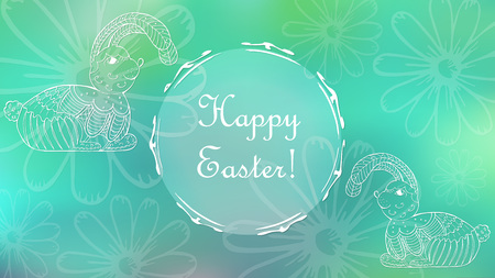 Easter Holiday Greeting Card with Hand Drawn Decorative Rabbits and Daisy Flowers. Round Substrate with Frame for Text. Blue-Green Mesh Background as a Backdrop. Illustration