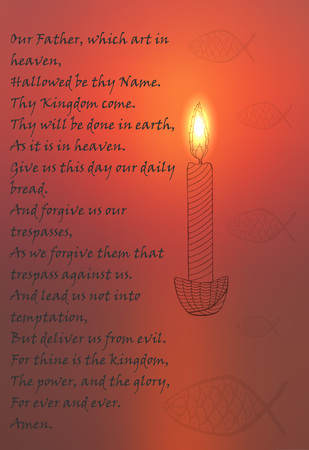 Blurred Red Color Religion Related Poster with Lighted Candle, Ornated Fish Symbol and Our Father Prayer text. Vector Illustration for Religion, Mindfullness and Spiritual Themes.