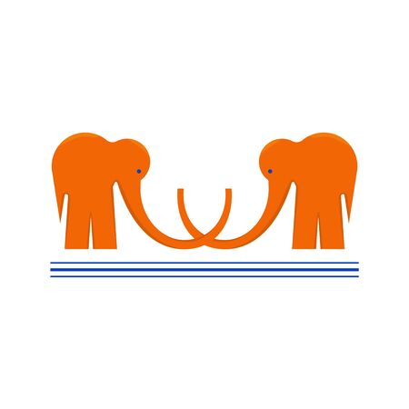 Couple of Two Orange Elephants with Shadows and Highlights Placed on the White Background. Logotypes Made as Two Elephants with Crossed Trunks Symbolizing Cooperation and Support. Underlined with Three Strokes. Vector EPS 10 Illustration. Иллюстрация