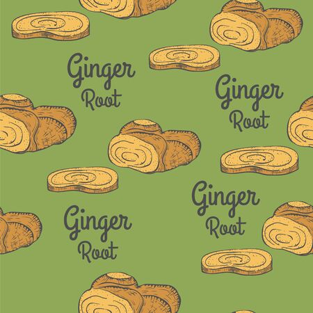 Seamless with Sliced Ginger and Words