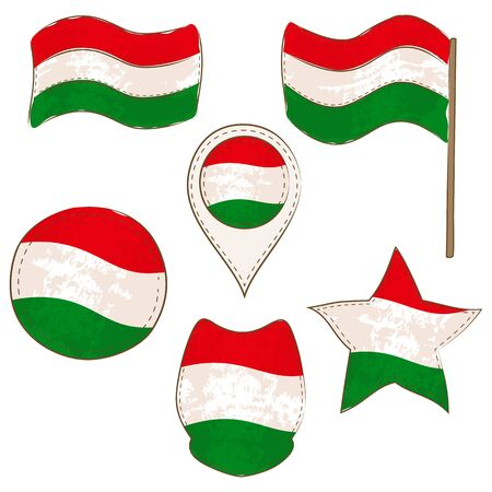 Flag of Hungary Made in Different Variations, as Flag with and without Stick, in a Circle, as a Shield, Star and Map Pointer. Flag Shapes with Contours, Decorated with Dotted Stitch and Brush Texture.