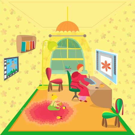 Freelance Female Designer in the Cozy Home Room and her Baby Daughter Playing on the Carpet. Image of Womens Freelance Lifestyle.