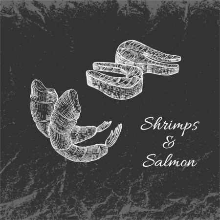 Hand Drawn White Vintage Seafood on Dark Backdrop