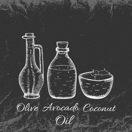 Hand Drawn Vintage Avocado, Olive and Coconut Oils