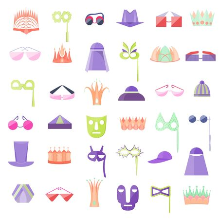 Set with Icon of Hats, Crowns, Glasses and Masks Imagens