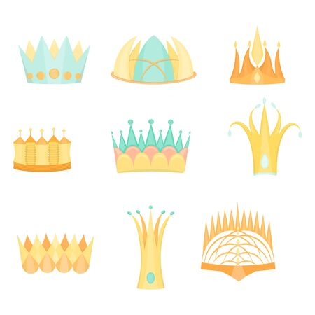 Set with Diverse Colored Fantasy Flat Crowns Stock Photo