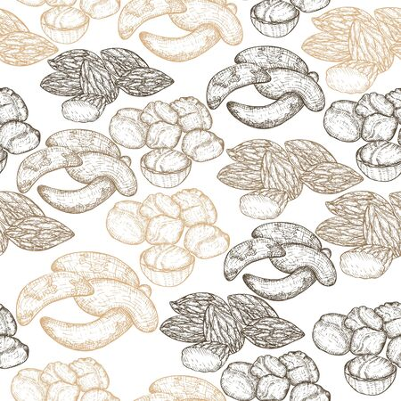 Seamles Pattern with Hand Drawn Heaps of Nuts