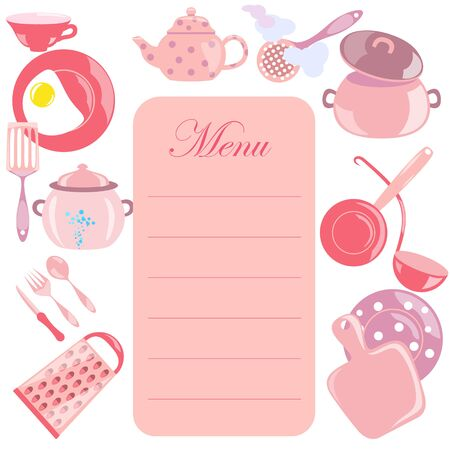 Menu Leaf with Pink Color Utensils Placed Around