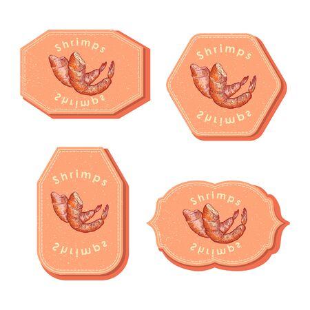 Set with Four Rectangular Labels with Shrimps Çizim
