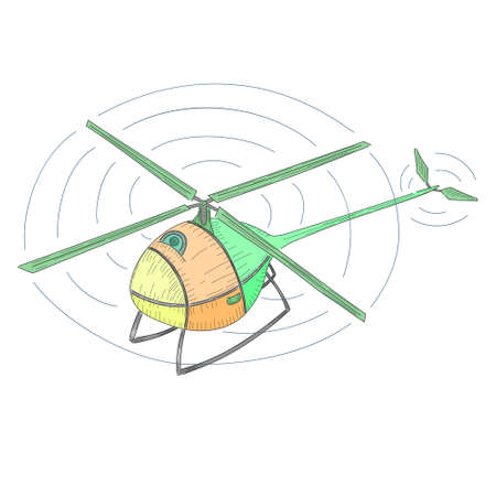 Drone with Single Rotor Made in Hand Drawn Style