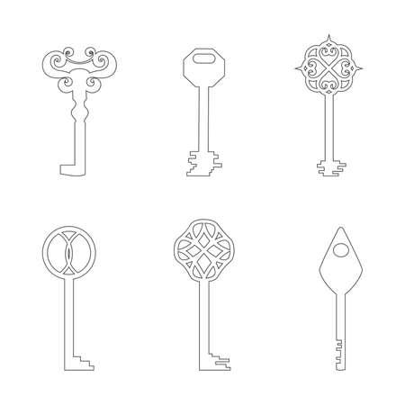 Set with Six Contour Keys Isolated on White Background