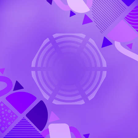 Industrial Poster with Abstract Shapes in Blue-Violet Colors