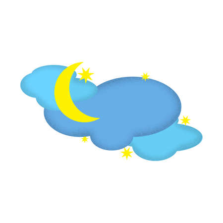 Nighttime Weather Icon with New Moon and Stars 스톡 콘텐츠