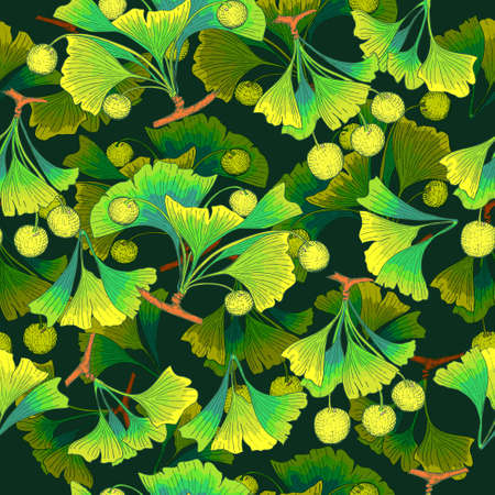 Seamless Pattern with Colored Parts of Ginkgo