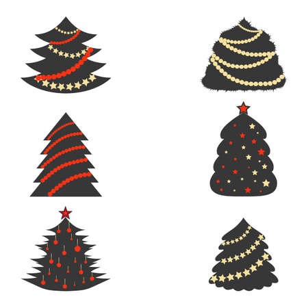 Dark Grey Christmas Trees with Color Garlands in Flat Style. 스톡 콘텐츠