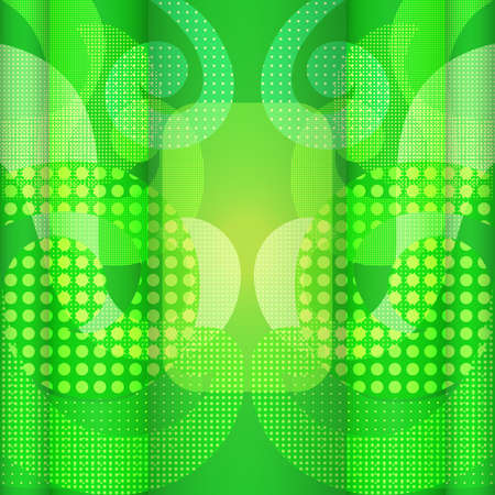 Colorful, Brightly Yellow-Green Flyer and a Halftone Texture. Abstract Background with Symmetrical Freeshaped Swirls 스톡 콘텐츠
