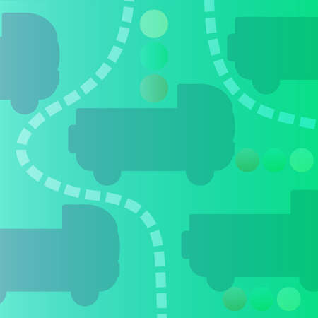 Square Abstract Banner with Cars, Roads and Traffic Lights.
