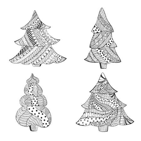 Set with Four Isolated Patterned Christmas Trees