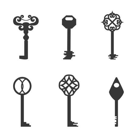 Six Flat Keys Filled with Dark Grey Color Isolated on White