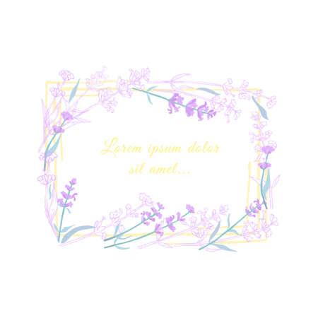 Lavender Twigs Outlined and Colored with Frame