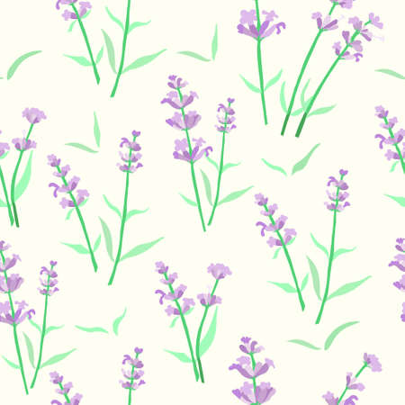 Seamless Pattern with Colored Parts of Lavender